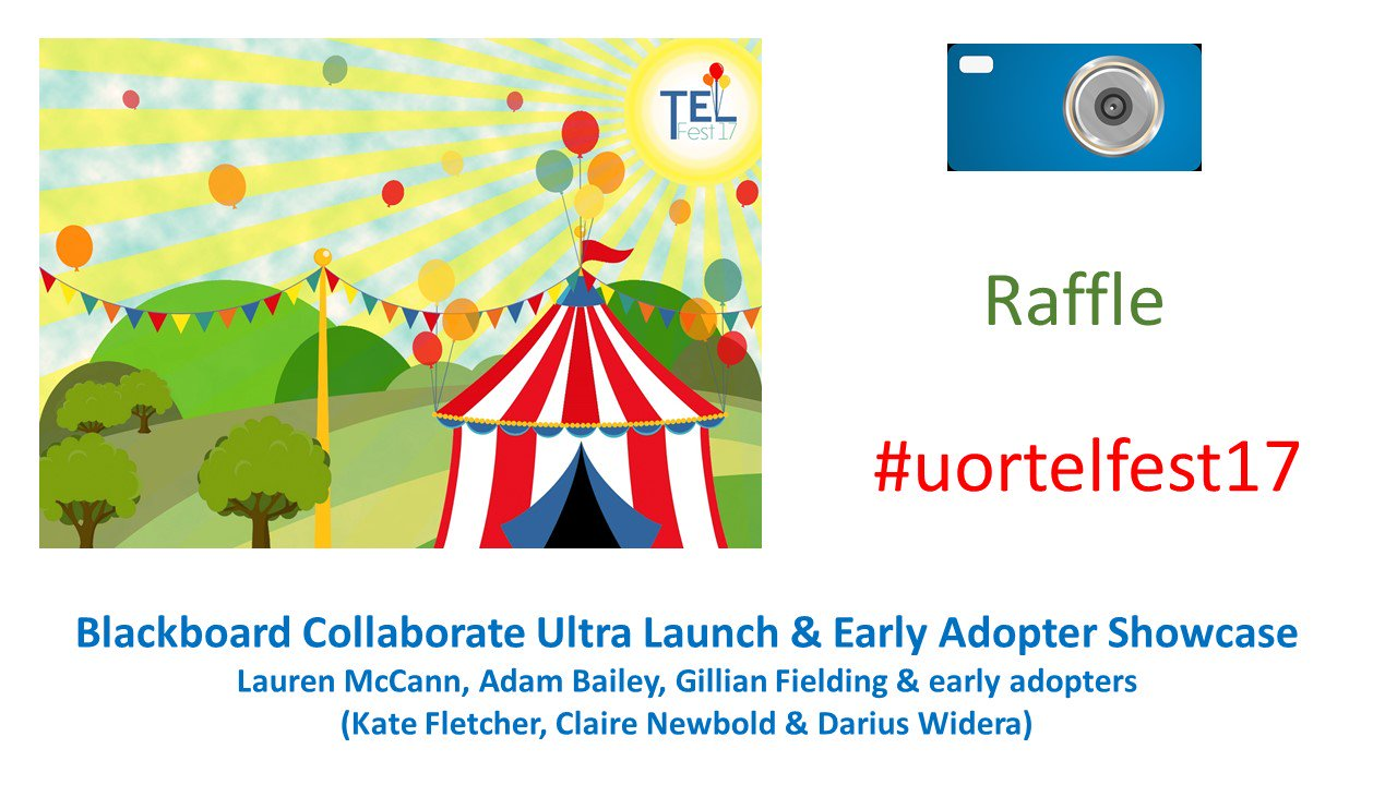 We launched the Blackboard Collaborate Ultra tool at UoR at TEL Fest last week (with party poppers!) https://t.co/sRlshPgV7T #uortelfest17 https://t.co/fohBKafB47