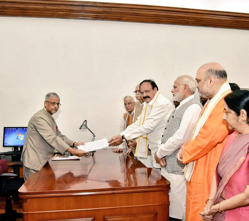Shri @MVenkaiahNaidu files his nomination as NDA's nominee for the Vice President of India in New Delhi.