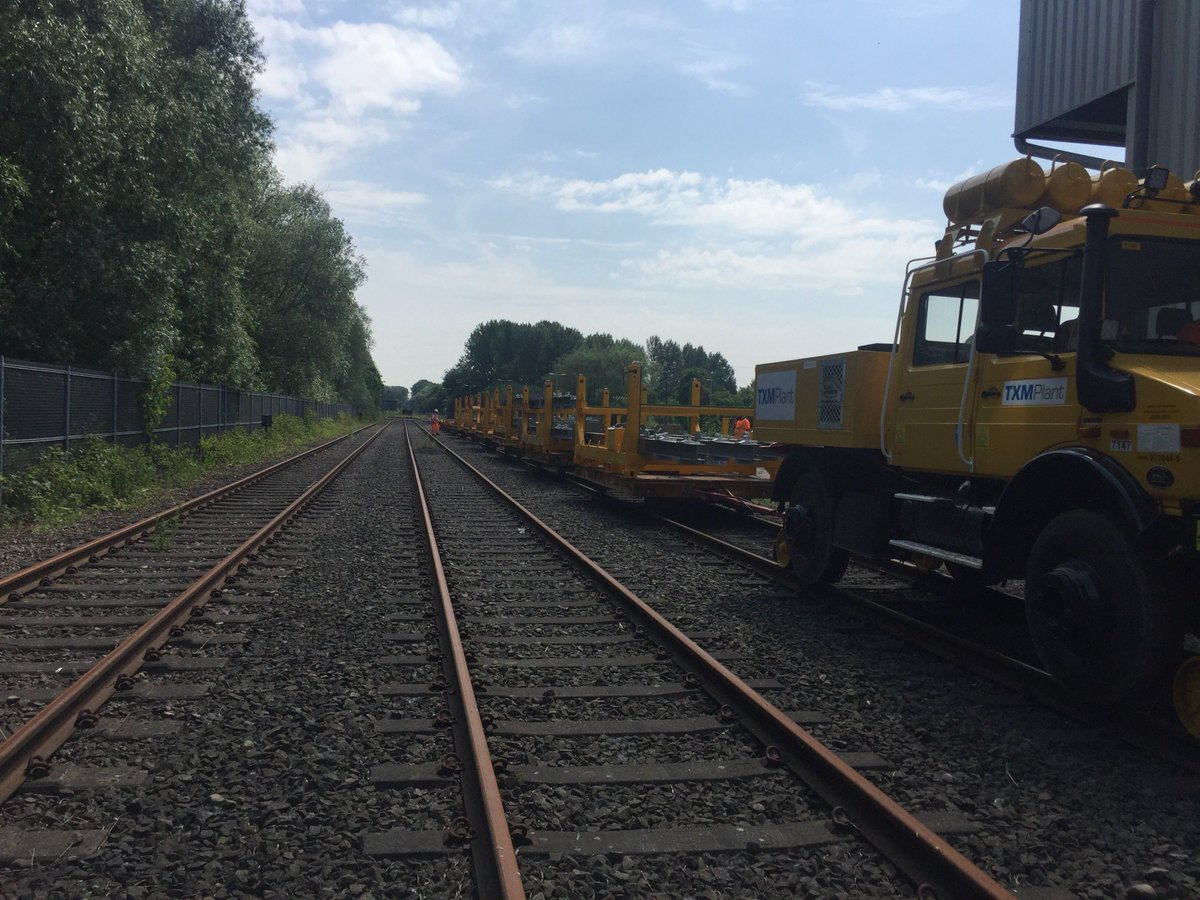 Our mog and trailers working hard on the Walsall to Rugely job this weekend. #rail #engineering #yellowkit