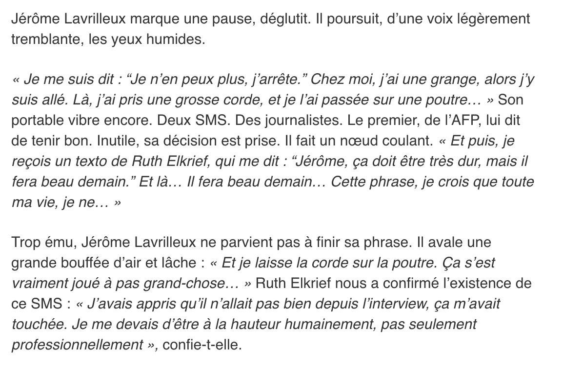 [A lire]'Il fera beau demain',le texto de Ruth Elkrief qui a dissuadé Lavrilleux de se pendre>  (phttps://t.co/IotPTszDqpar Davet & Lhomme)