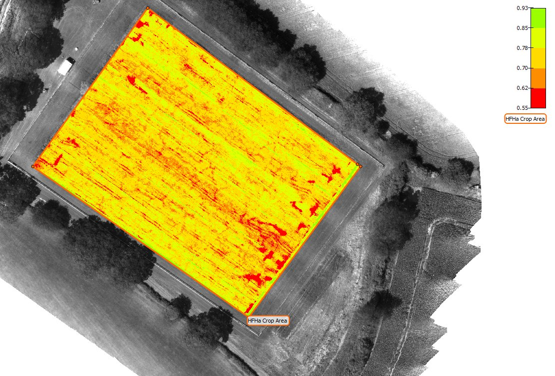 Hot off the HDD the #NDVI of the #hfha turning nicely, areial imagary shows good coverage only 2% not Crop, another drone flight for the log <br>http://pic.twitter.com/EfuQUiTTDN