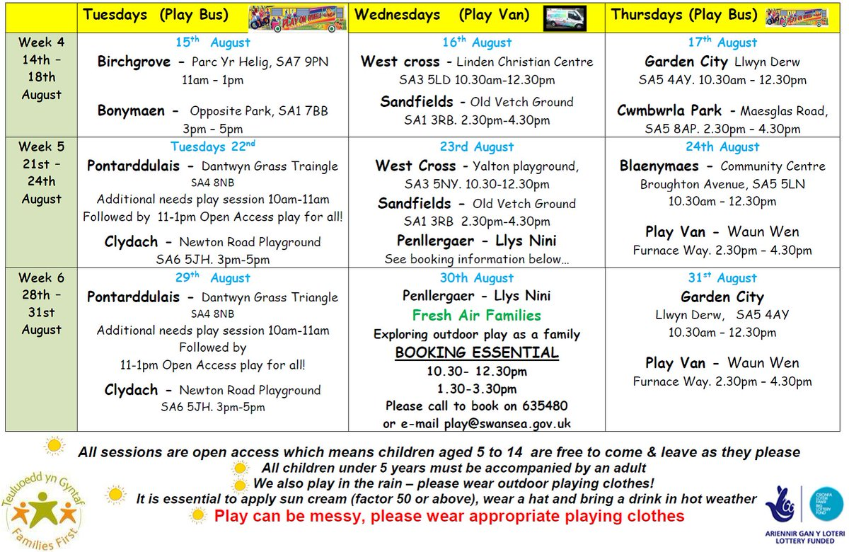 """Penyrheol Comp on Twitter: """"Free play sessions for 5-14 year olds over the summer holidays. Timetables attached, visit https://t.co/N54TAbuL54 for more ..."""