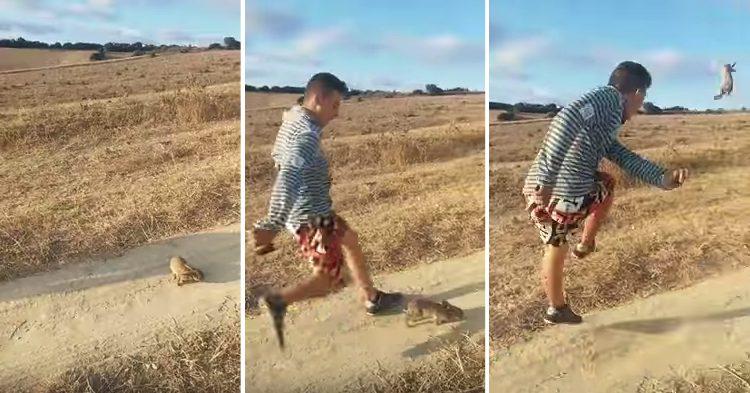 ¡Ayúdanos a pillarlo! Buscamos a este desalmado que se grabó pateando a un conejo. Rotundo NO al #MaltratoAnimal redesabiertas@policia.es