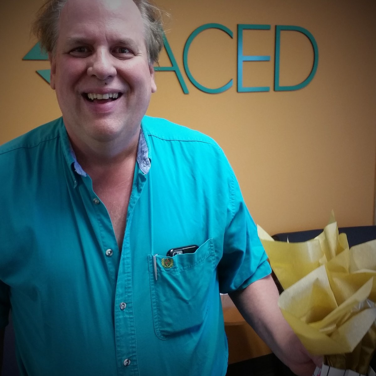 Douglas was excited to pick-up his $25 @eddiebauer gift card prize from our #BikeToWorkDay party at @OrchardTC<br>http://pic.twitter.com/RqEjEEEmmL