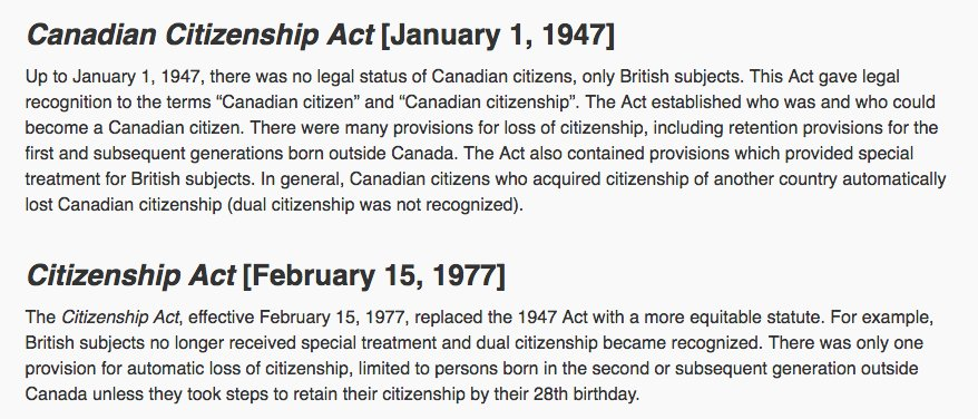 Born in Canada =  CND citizen. Before Feb. 15/77 becoming citizen of another country = loss of CDN citizenship https://t.co/AXfvsfFsSM https://t.co/p6K17LBxfv