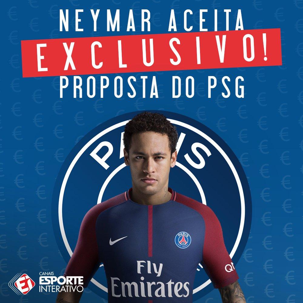EXCLUSIVO! @neymarjr aceitou a proposta do @PSG_inside e deve ser anunciado nas próximas semanas! A informação é do nosso @marcelobechler!