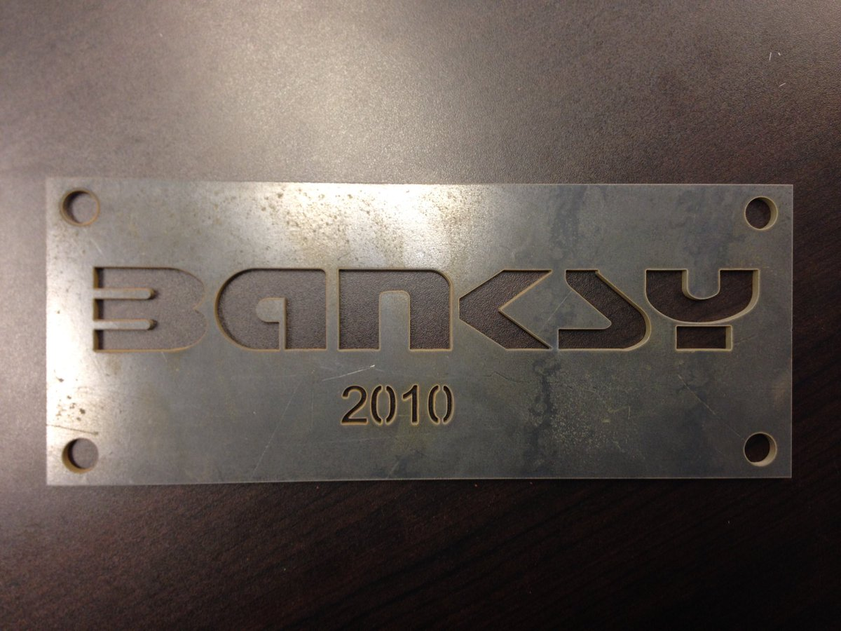 Check out this #Banksy #Custom Plaque #Waterjet from 3/16 Corten Steel! Visit our website to request a quote!  http://Www. cimmetals.com  &nbsp;  <br>http://pic.twitter.com/mWI0qYkjqo