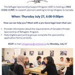 Attention #Ottawa sponsor groups: our next free legal clinic is happening July 27! RSVP to speak with a pro bono lawyer #RefugeesWelcome