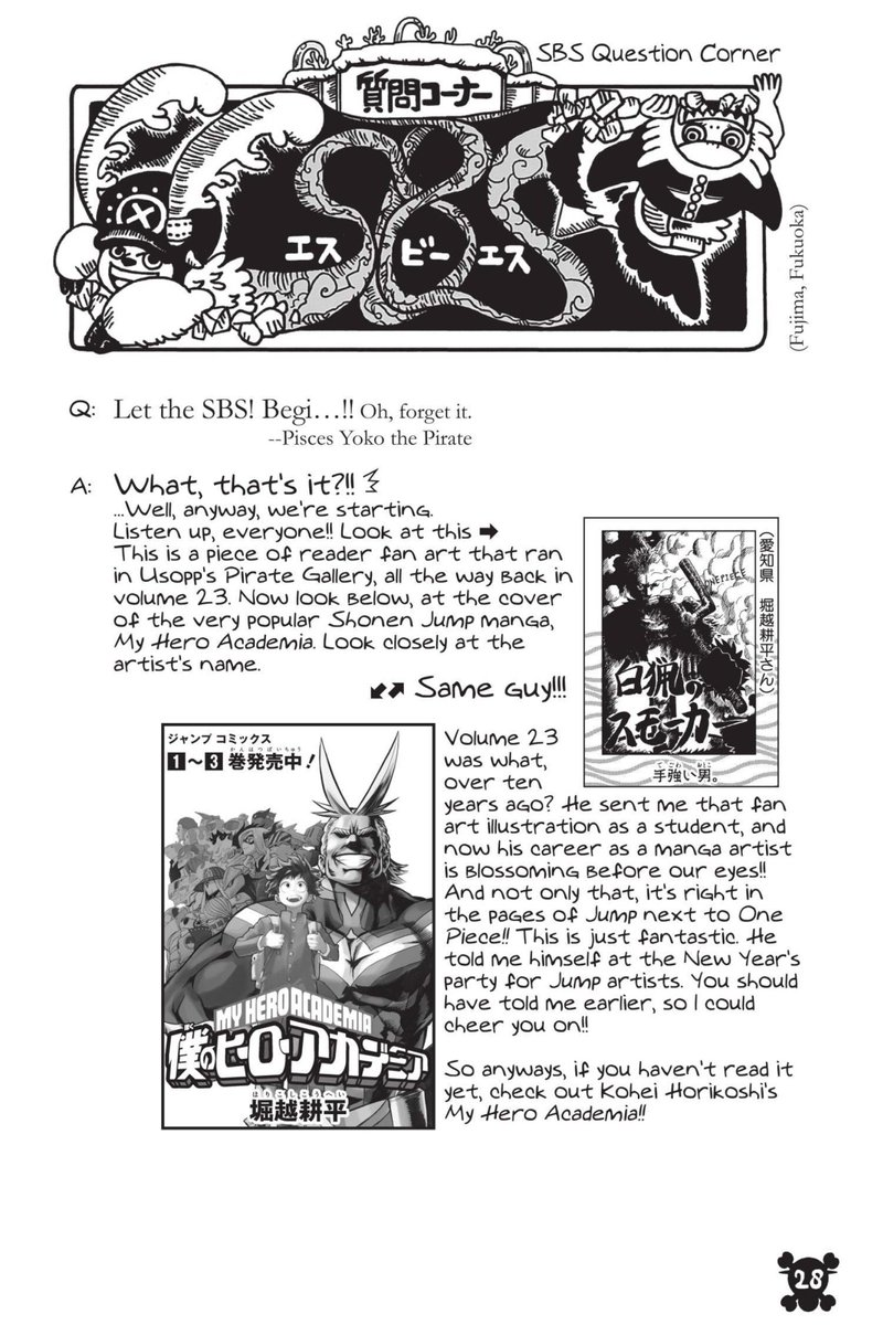 Oda Talking About Horikoshi Creator Of My Hero Academia Onepiece