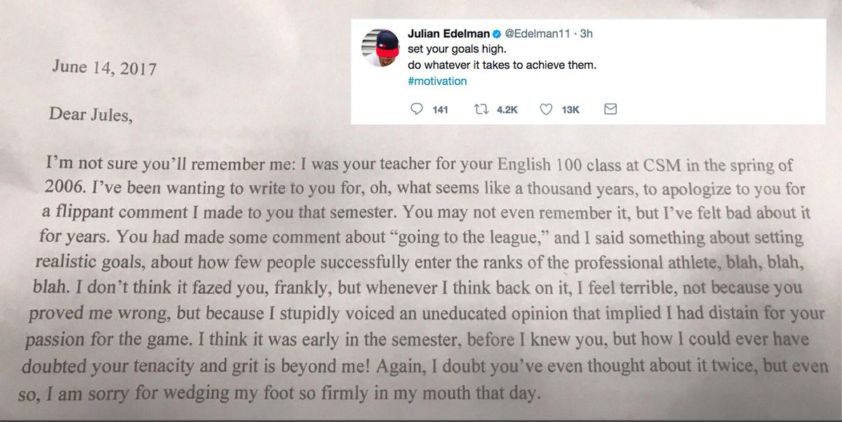 Julian Edelman's English teacher sent him a letter apologizing for doubting him.
