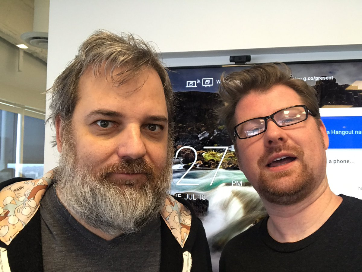 Dan Harmon @danharmon Amy myself are about to go live on https://t.co/FR9PYxXbvU link goes live 11:30am in 3 mins.
