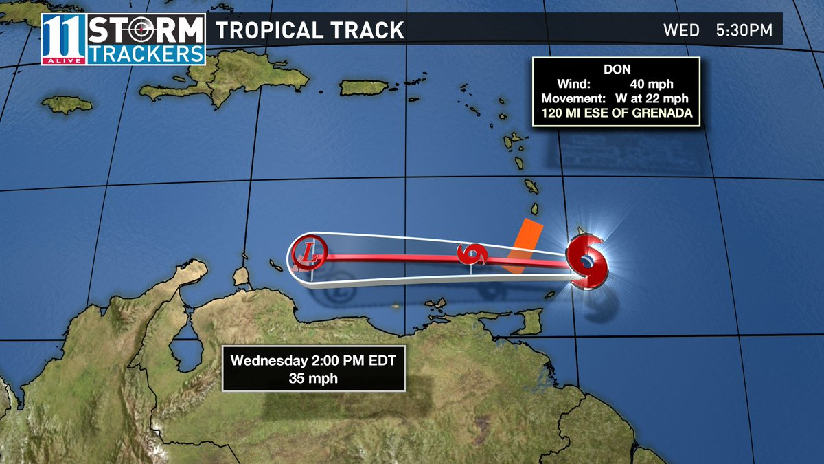 Tropical Storm Don may not last too much longer. It is expected to dissipate by tomorrow afternoon. #11Alive
