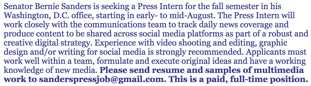 Apply to be a press intern in Sen. Sanders' office this fall.