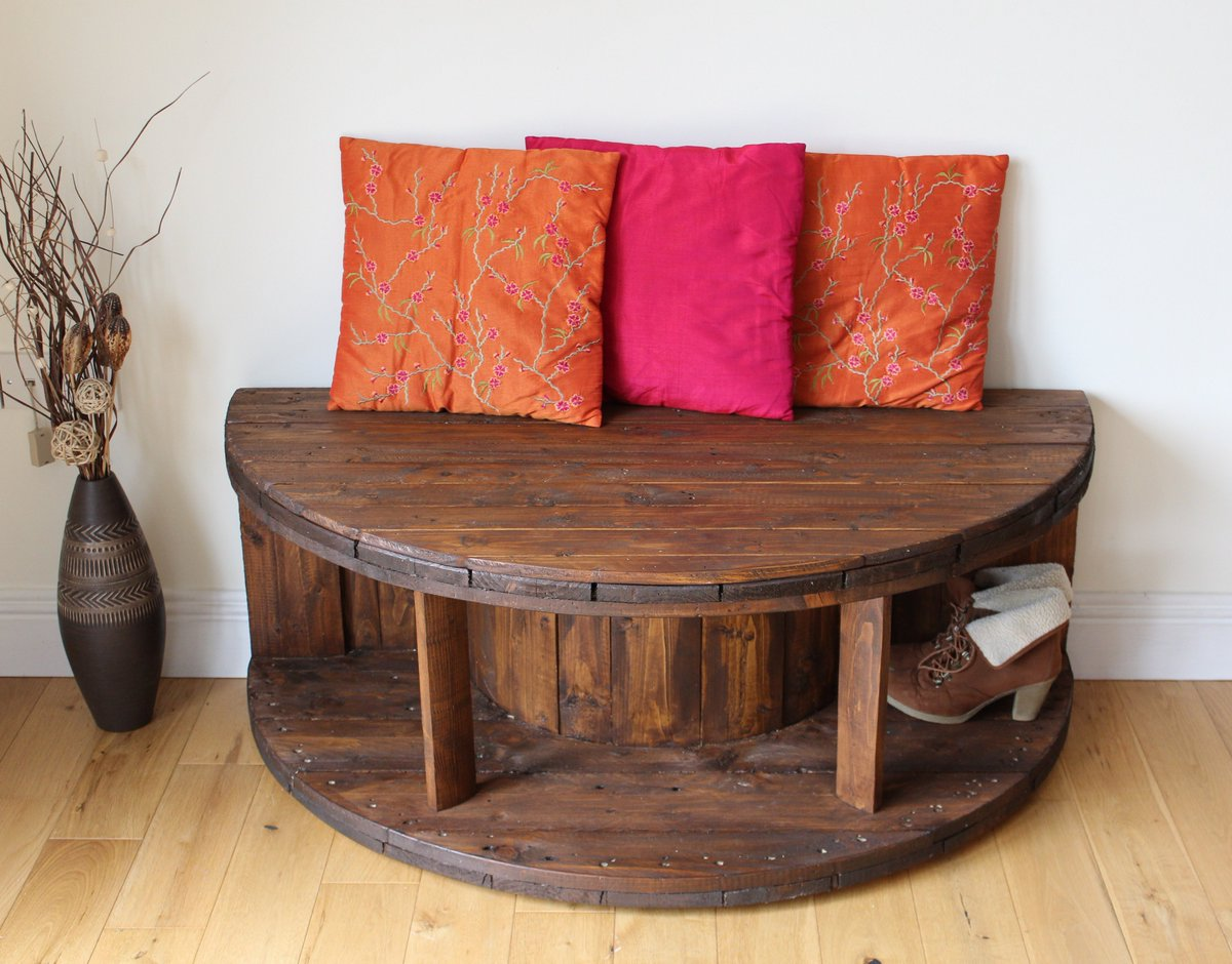 Our Rustic Bench/TV Stand handmade from a cable reel available at  http:// goo.gl/h9KVkq  &nbsp;     #UpcycledHour #Sale @RevivedandRetro #upcycled <br>http://pic.twitter.com/mWYWxUMoEG