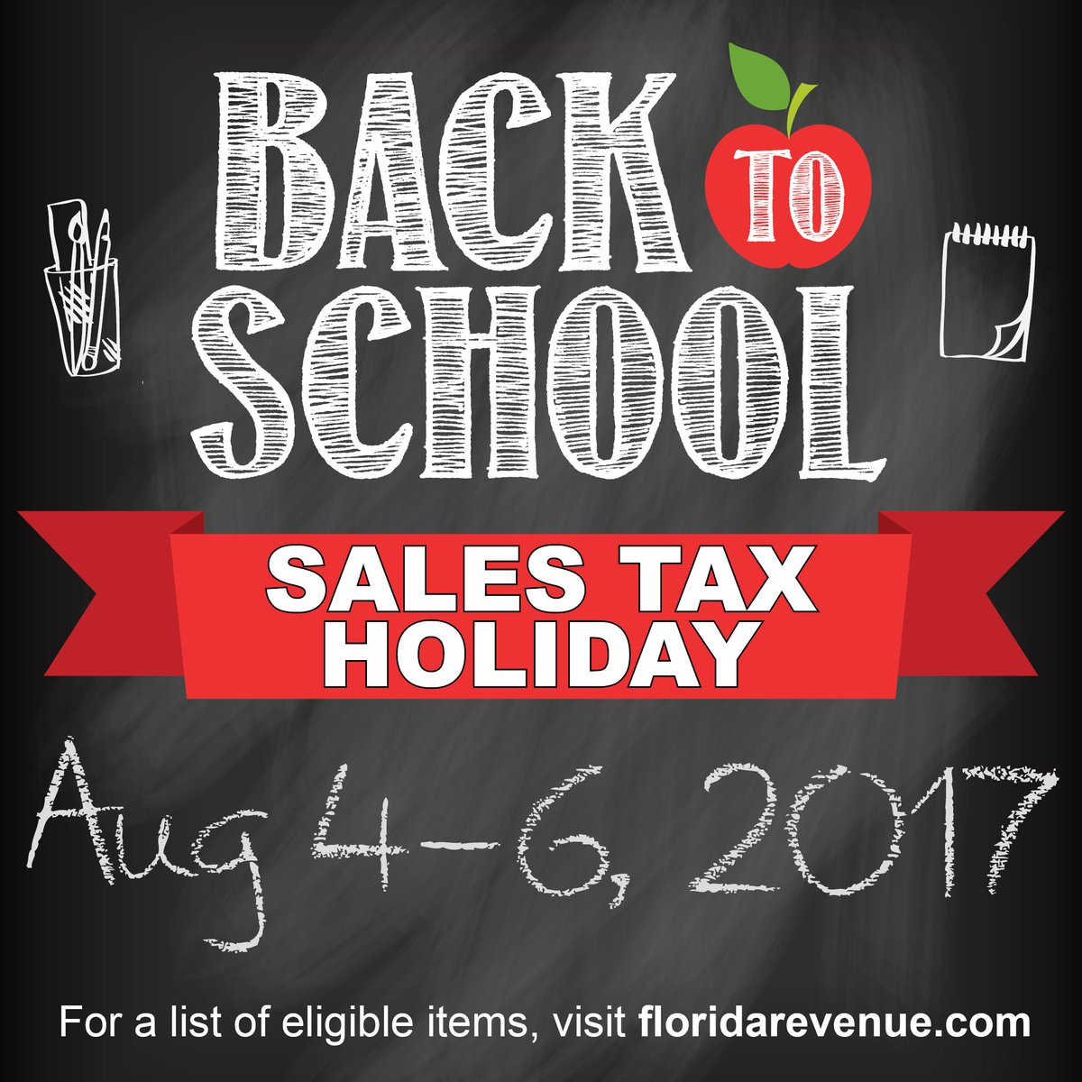 #FLfamilies Don't forget the #FLBack2School Sales Tax holiday begins August 4-6! #FLedu https://t.co/p83ILBs1fP
