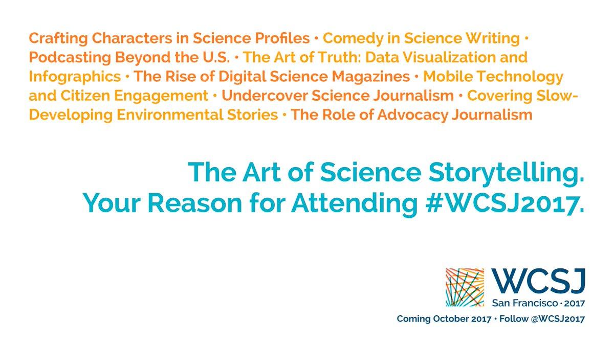 The art of science storytelling. Your reason for attending #WCSJ2017! Register:  http:// wcsj2017.org/register/  &nbsp;   #journalism #wisscomm #ciencia #data<br>http://pic.twitter.com/C65ZwViwuV