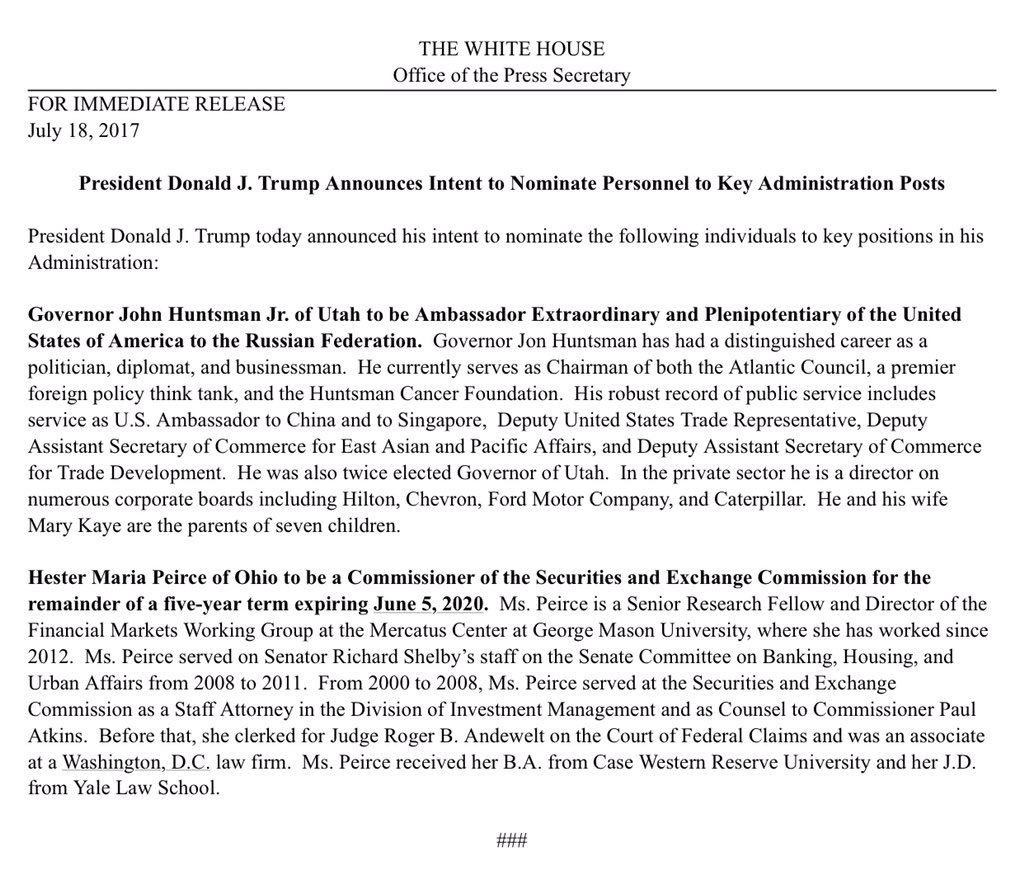 White House announces Trump intends to nominate Jon Huntsman as ambassador to Russia — and spells his name wrong https://t.co/Yw6Ibn7FeQ