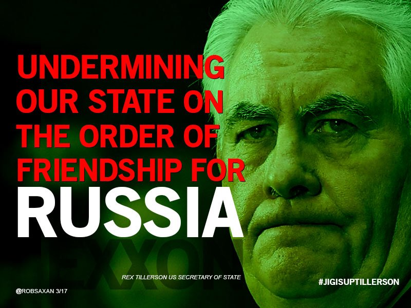 ! @exxonmobil #RexTillerson undermining our State with his Order of Friendship from Russia. @realdonaldtrump is a #Putin marionette @maddow<br>http://pic.twitter.com/tW9F0Az0U2