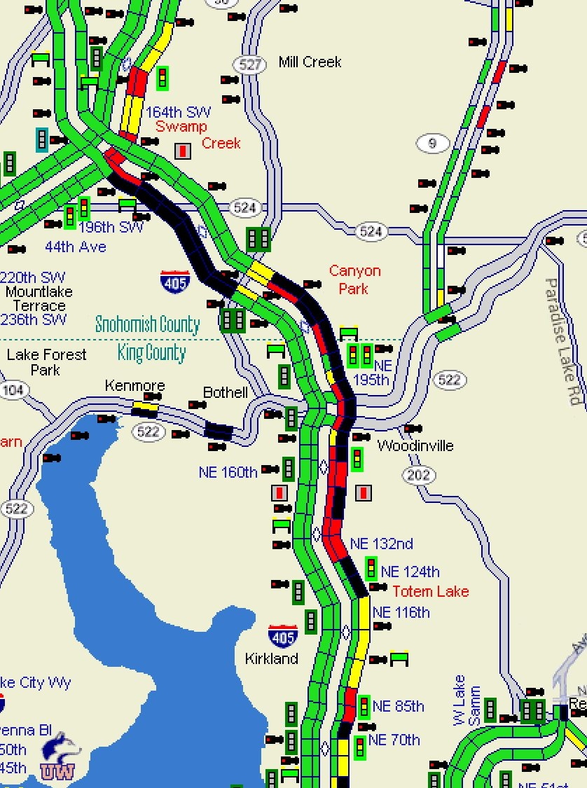 405 Traffic Map.Wsdot Traffic On Twitter All Clear On Southbound I 405 At Sr 527