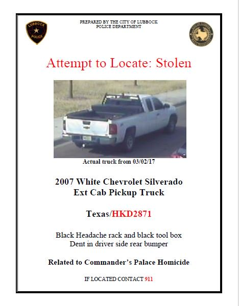 """Lubbock Police Dept. on Twitter: """"#attempttolocate Detectives are searching for this vehicle in connection with the homicide at Commander's Palace over the ..."""