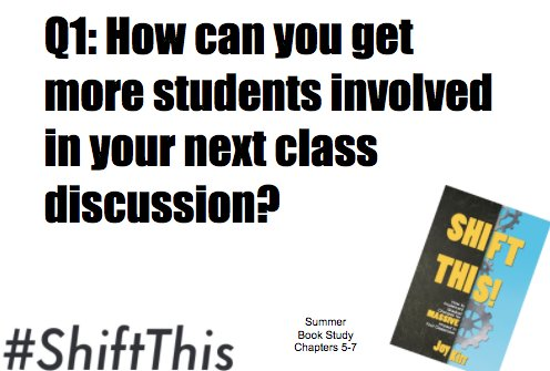 Q1: How can you get more students involved in your next class discussion? #ShiftThis https://t.co/H0wJUrstvK