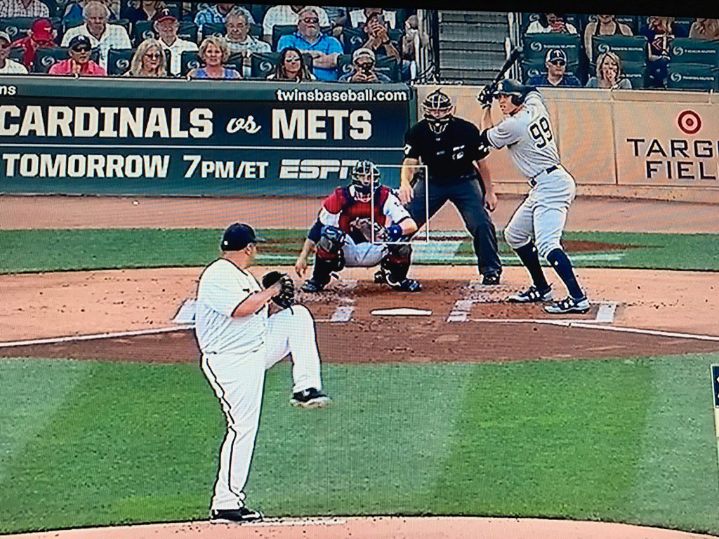 Aaron Judge facing Bartolo Colon. Judge was 4 when Colon made his MLB...