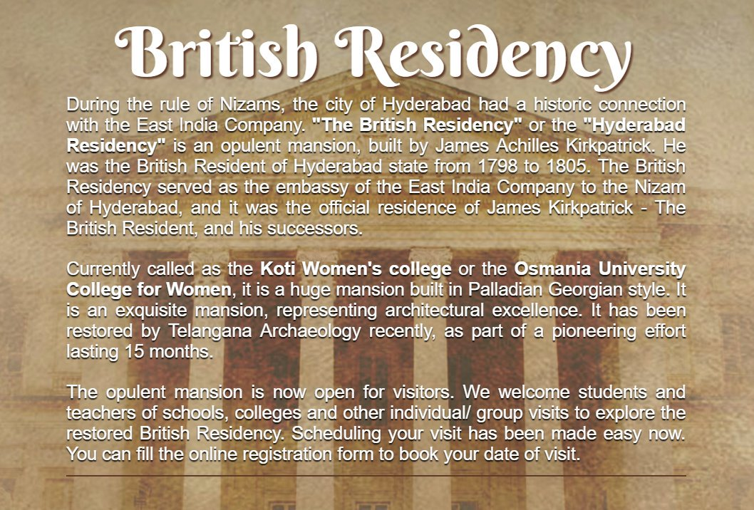 #Hyderabad #British #Residency is now open for visitors, and you can schedule a visit by filling an online form.  http://www. telanganamuseums.in/residency-visi t.html &nbsp; … <br>http://pic.twitter.com/75ZzXWAbya