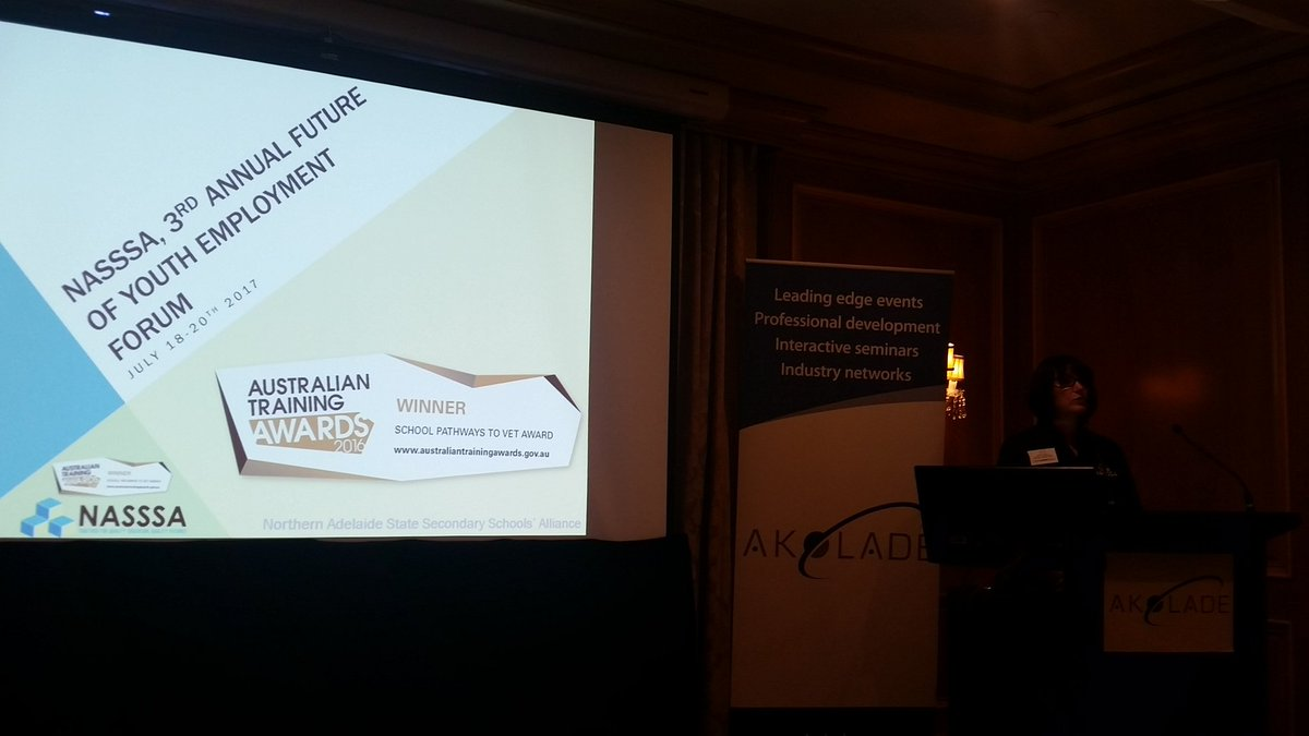 Heather Bitter of NASSSA, delivering quality programs for youth in SA #YouthEmploy17 @AkoladeAust #Adelaide #SA #VET #Learning #PASSiONEst <br>http://pic.twitter.com/QMQEGXiJDb