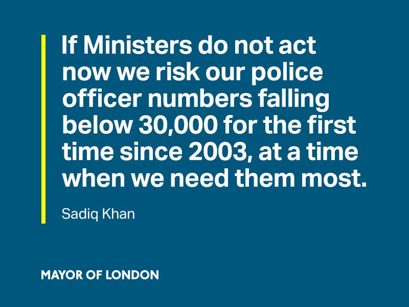 We risk our police officer numbers falling below 30,000 for the first time since 2003. Ministers must act now. https://t.co/rRERDGUk8M