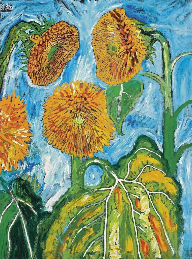 Stunning Sunflowers by UK artist John Bratby c1964 #art #painting #sunflowers <br>http://pic.twitter.com/kjatHWbVo4