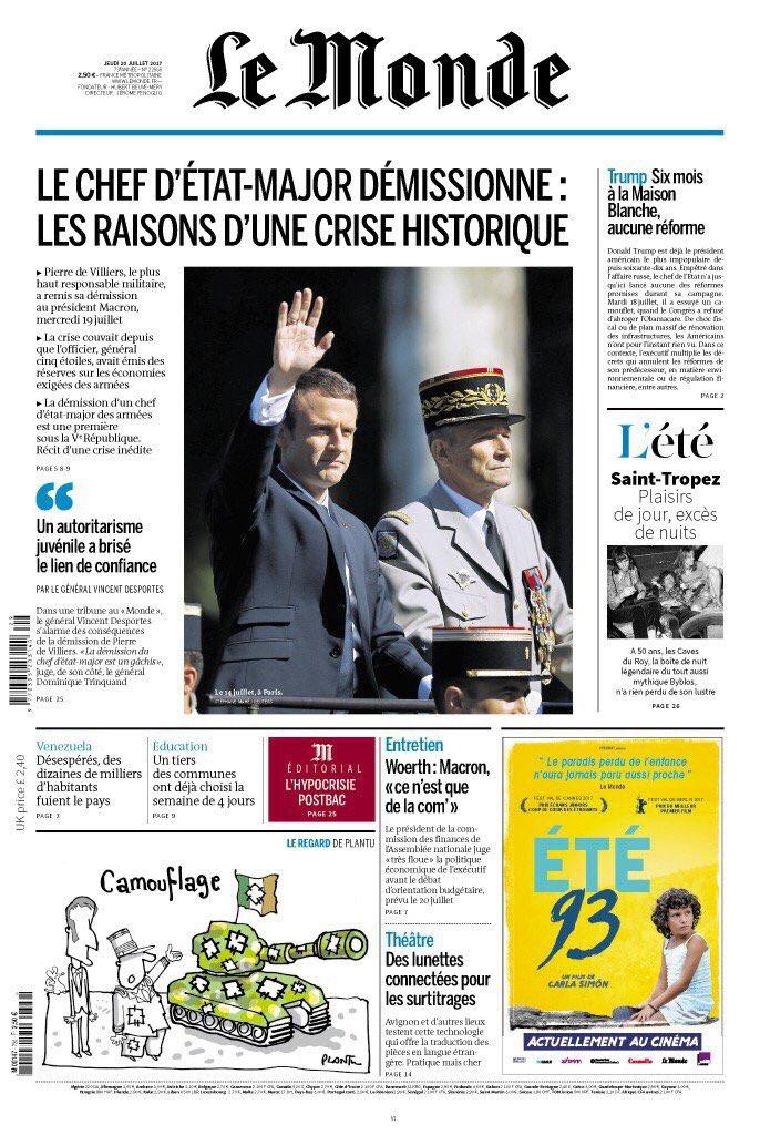 Très gros traitement de la démission du chef d'état-major en une du 'Monde' : 'une crise historique'.