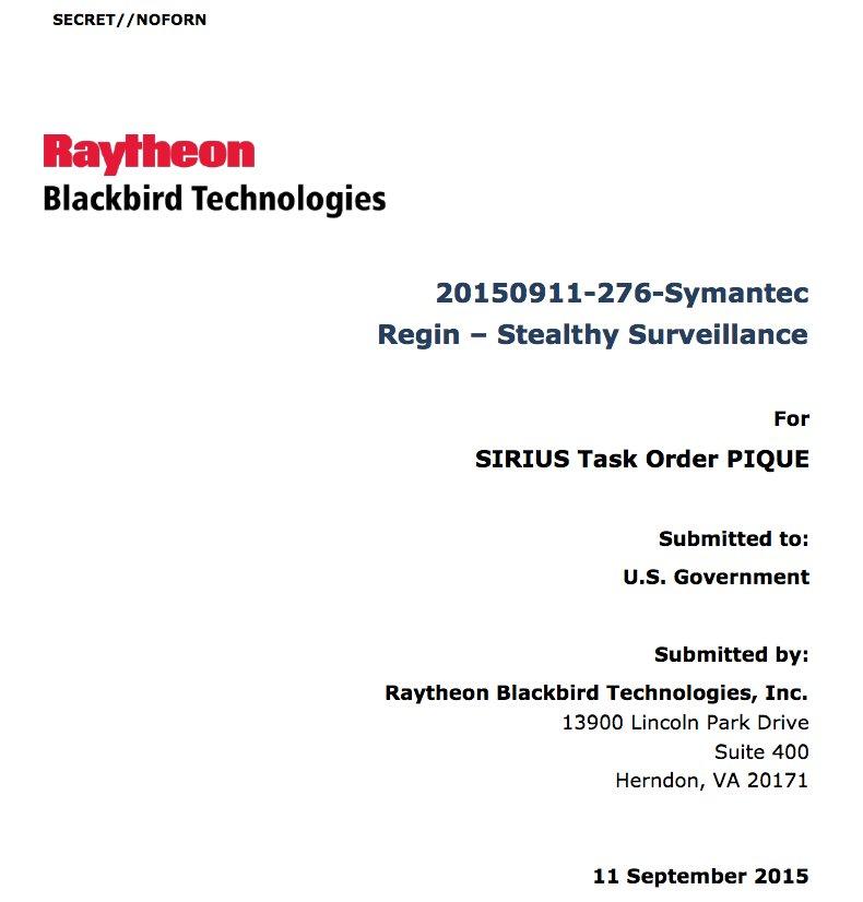 RELEASE: Classified CIA-Raytheon documents on Regin covert malware #Vault7 https://t.co/jutqkdf8JF