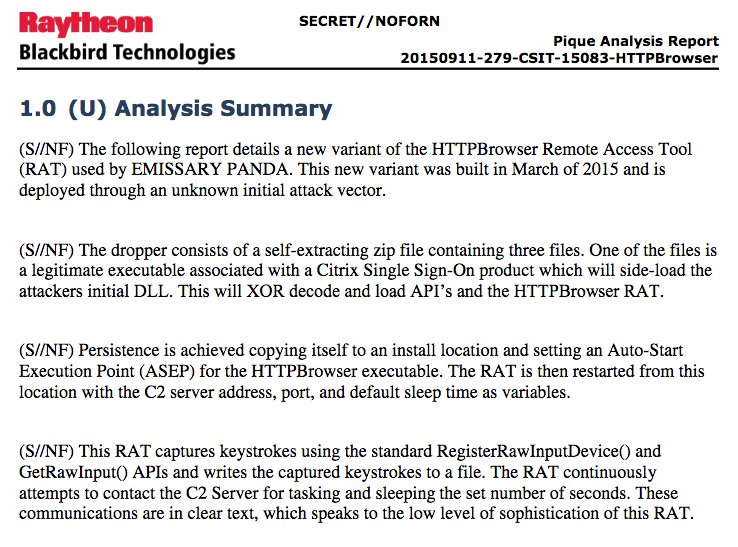 RELEASE: Classified CIA-Raytheon docs on suspected Chinese state malware #EmmissaryPanda #Vault7 https://t.co/BLUNsalisM