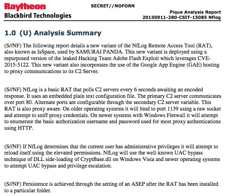 RELEASE: Classified CIA-Raytheon docs on suspected Chinese state malware #SamauriPanda  #Vault7 https://t.co/1AdPryE3Br