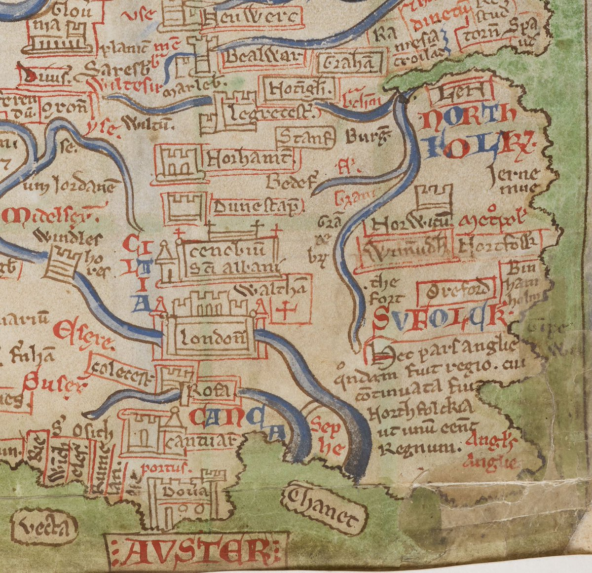 i love zooming in on this medieval map here you can see dover has been positioned due south of london