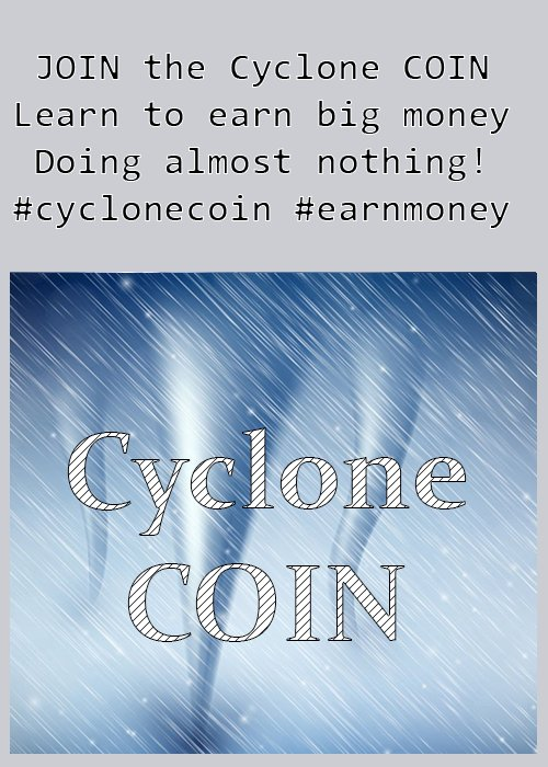 Do you want to earn a lot of money, doing nearly nothing! Come and JOIN Cyclone coin and get rich trying. #getrich #earnmoney #cyclonecoin<br>http://pic.twitter.com/0HnVtHPlKr