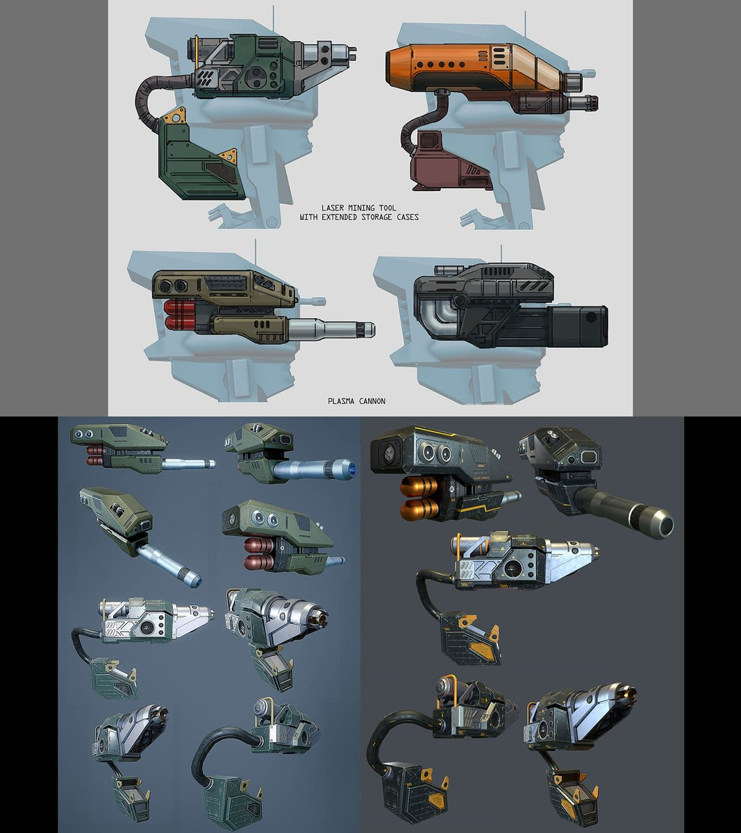 from #conceptart to 3d model - mining laser &amp; plasma cannon for the scout mech in #pantropy... by #nautabotnews <br>http://pic.twitter.com/s91SB0M1GW