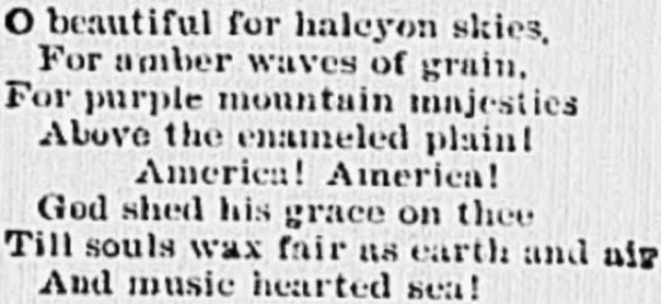 "On visiting Pikes Peak OTD #1893 Katharine Lee Bates writes America the Beautiful. Original verse = ""halcyon skies"" https://t.co/c24TZhJNSv https://t.co/h8e0YJyz2l"