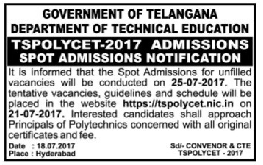 #Telangana Notification for spot #Admission in #Polytechnic on 25th July. @mso_deccan<br>http://pic.twitter.com/DSsf9zblam
