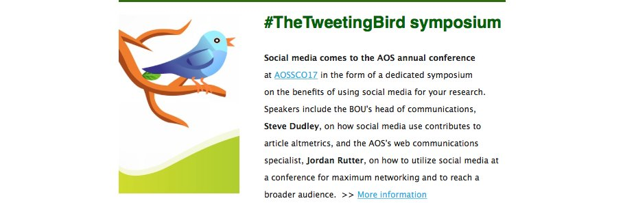 The BOU&#39;s @stevedudley_ will be at #AOSSCO17 presenting on #socialmedia #altmetrics and #citations in #ornithology  http:// ow.ly/htZX30dIJOD  &nbsp;  <br>http://pic.twitter.com/wctzPBy7x5