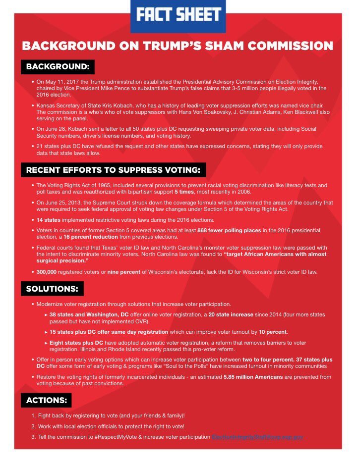 The FACTS on the Trump-Kobach voter suppression commission. Via @HipHopCaucus https://t.co/KtNwo6qVJd