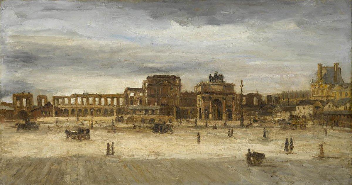 """Musée du Louvre on Twitter: """"Le palais des #Tuileries, incendié en 1871,  fut détruit en 1882. A. Barth a peint la démolition en cours des ruines du  palais. #PalaceDay… https://t.co/UsCr5837x9"""""""