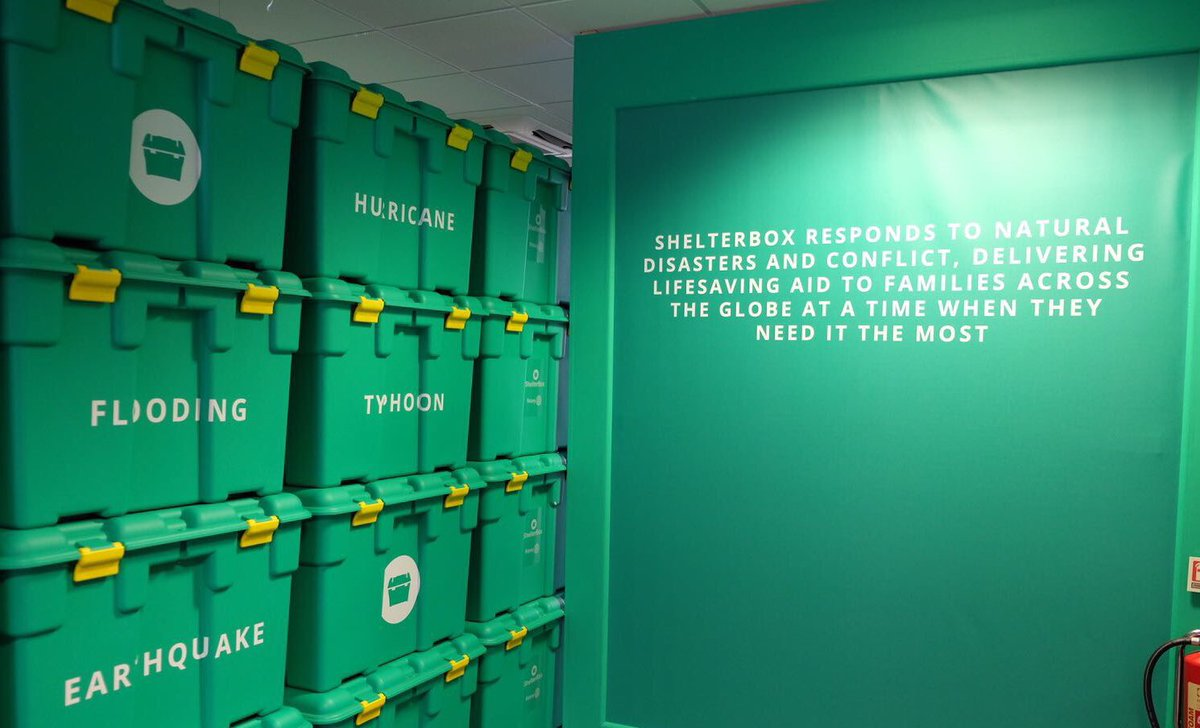 In the new visitor centre, guests learn about the contents o @ShelterBoxf 's famous green box that helps people worldwid #TRHinCornwalle.