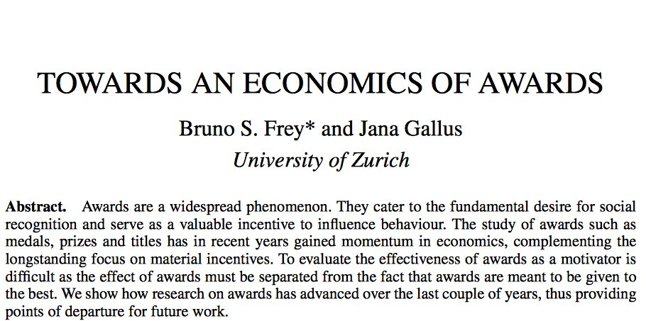 2/Focus has hitherto been on whether prizes create incentives & raise social status (see work by Frey & Gallus https://t.co/RaxqNxA4yd) https://t.co/uEawBQewfZ