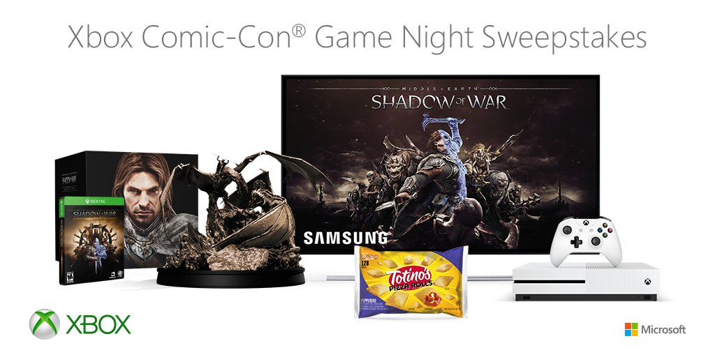 RT and follow for a chance to win an #XboxSDCC Game Night Package! NoPurchNec. Ends 7/28/17. #Sweepstakes  Rules: https://t.co/HhY0QE5qu0