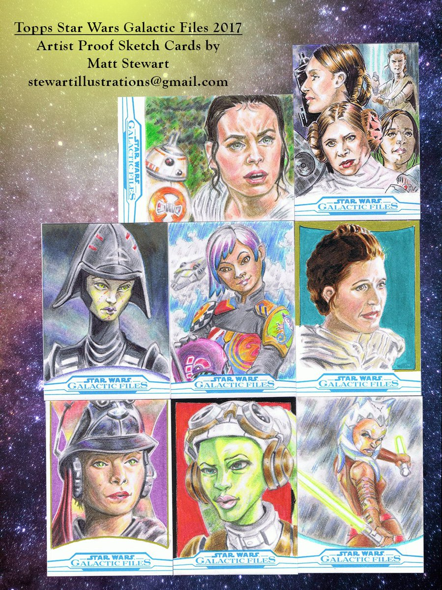 #StarWars Galactic Files from #Topps releases today! These are my artist proofs from that I have for sale. #Rey #sabine #princessleia <br>http://pic.twitter.com/sj80DrkfoQ