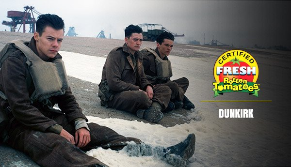 #Dunkirk is now #CertifiedFresh at 96% on the #Tomatometer 🍅   https://t.co/mRgBx7SayW