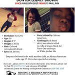 Missing Child Alert: Donyea Legacy Brown, 16, missing since June 29. Seen at some point in #Lowertown, #SaintPaul