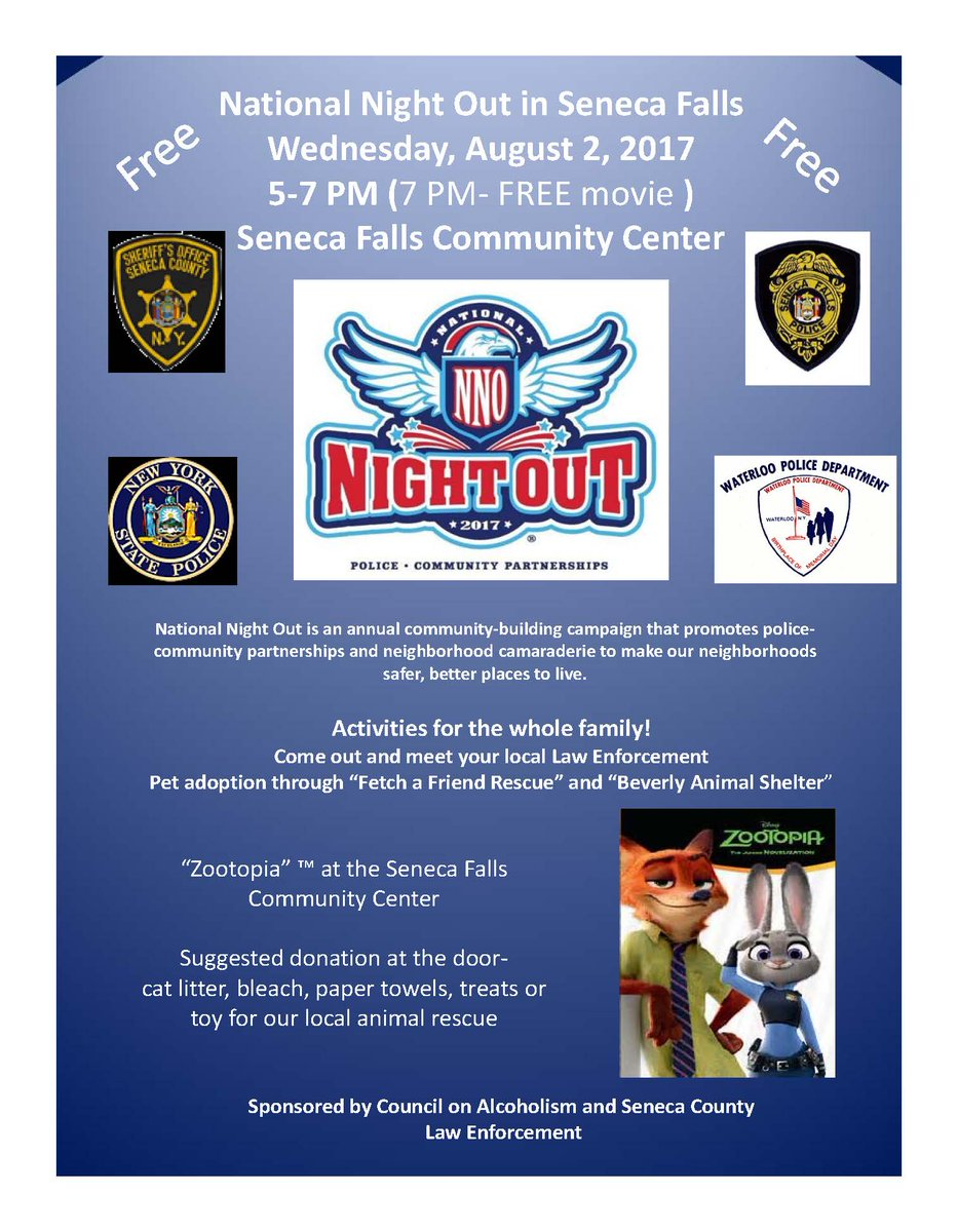 'Night Out' coming to Seneca Falls Community Center on Aug. 2