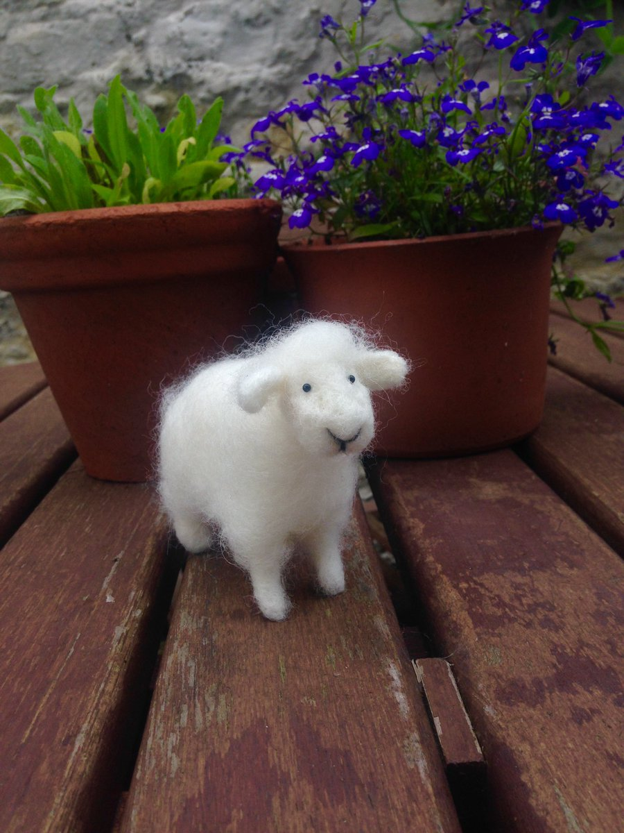 Finished this little woolly friend today what do you think #HandmadeHour #needlefelt #sheep #craft #wool #fibreart<br>http://pic.twitter.com/APd784xbEC